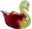 thumbnail 1 - VINTAGE Shawnee Ceramic Pastel Green & Pink Swan Duck Planter Mid-Century Modern