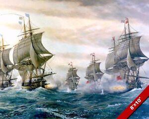 Naval Battle Of Virginia Capes Painting American Revolution War Art Canvas Print Ebay