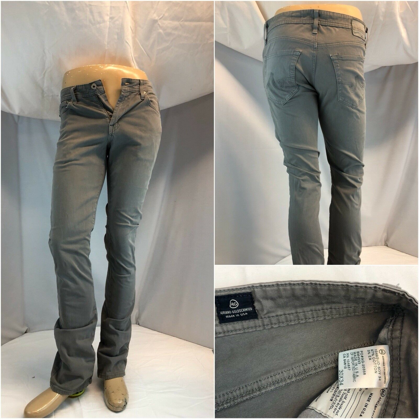 Adriano goldschmied Jeans Pants 30x34 Grey Cotton Lycra Excellent YGI F7073
