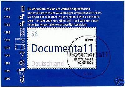 Brd 2002: Documenta-block Nr. 58 Mit Dem Bonner Ersttagssonderstempel! 1a! 1905