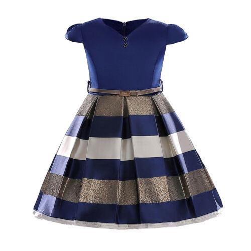 Girls Bow Princess Kids Party Wedding Bridesmaid Formal Stripe Dress Xmas Gifts