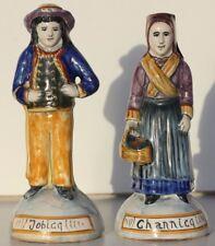 COUPLE ANCIEN EN FAIENCE DE QUIMPER - JOBICQ ET CHANNICQ - HR QUIMPER - 15 cm