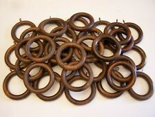 Natural Unfinished Wood Wooden Curtain Rod Pole Rings With Gold Eye Hooks 9 Pc