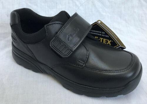 BNIB Clarks Boys Tam Go GTX Black Leaather Gore-Tex School Shoes F Fitting