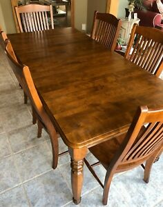 Dining Room Or Kitchen Table Set - Canadel - Solid Birch Wood - Made In Canada | EBay