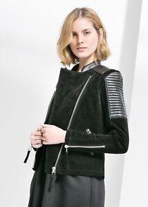 9b9724b58 Details about NWT Mango Premium Black Suede Leather Moto Biker Jacket SZ XL  RARE