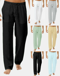 Men-039-s-Summer-Drawstring-Lightweight-Pants-Solid-Cotton-And-Linen-Pants-Trousers