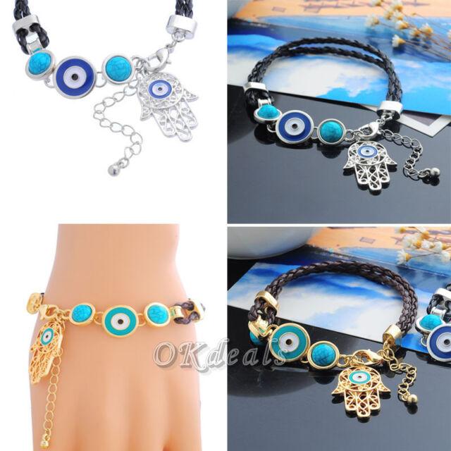 Fashion Charm Women Leather Evil Eye Amulet Hamsa Fatima Hand Bracelet Gift