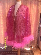 Drag Queen/Cabaret SHORT Pink glitter coat with pink feathers 16/18