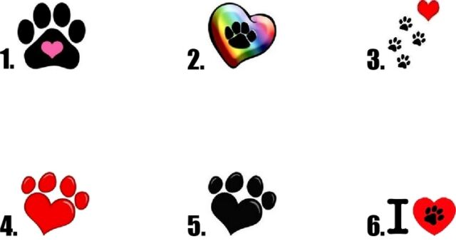 Waterslide Dog Paws Nail Decals Set of 20 - Paw with Heart - you choose