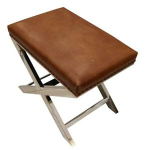 Distressed-Leather-Metal-Cross-Footstool-Ottoman-Vintage-Tan