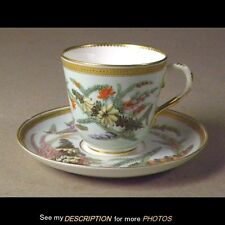 Quality! Royal Worcester Antique Porcelain CUP & SAUCER Heather Hand Painted