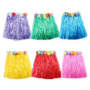 Glamour-Kids-Hawaiian-Hula-Grass-Skirt-Beach-Dress-Lei-Flower-Girls-Costume-Prec