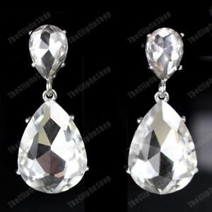 CLIP-ON-4-4cm-big-WHITE-AUSTRIAN-CRYSTAL-glass-SPARKLY-EARRINGS-SILVER-GOLD-PLTD