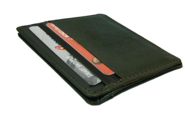 2x Black Genuine Leather Men's Thin Wallet Cowhide 4 Slots Card Holder NR