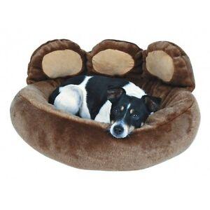 Trixie-Dog-Bed-Plush-Paw-Design-Donatello-Brown-50-x-60-cm
