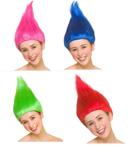 New Trolls Perruque Rose//Bleu//Vert//Rouge Déguisement Halloween Accessoires