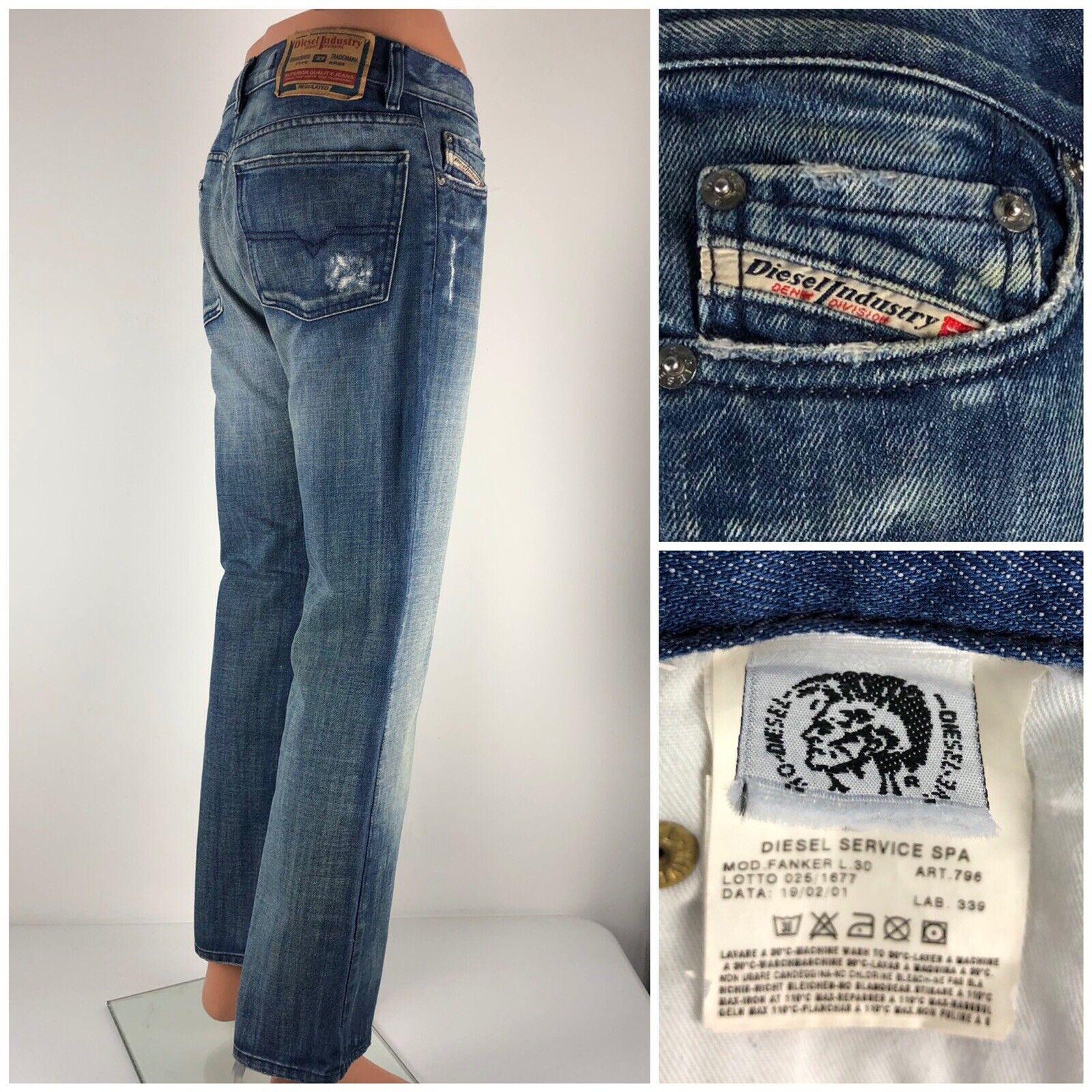 Diesel Fanker Mens 30 X 30 Jeans Distressed Faded 100% Cotton Vintage