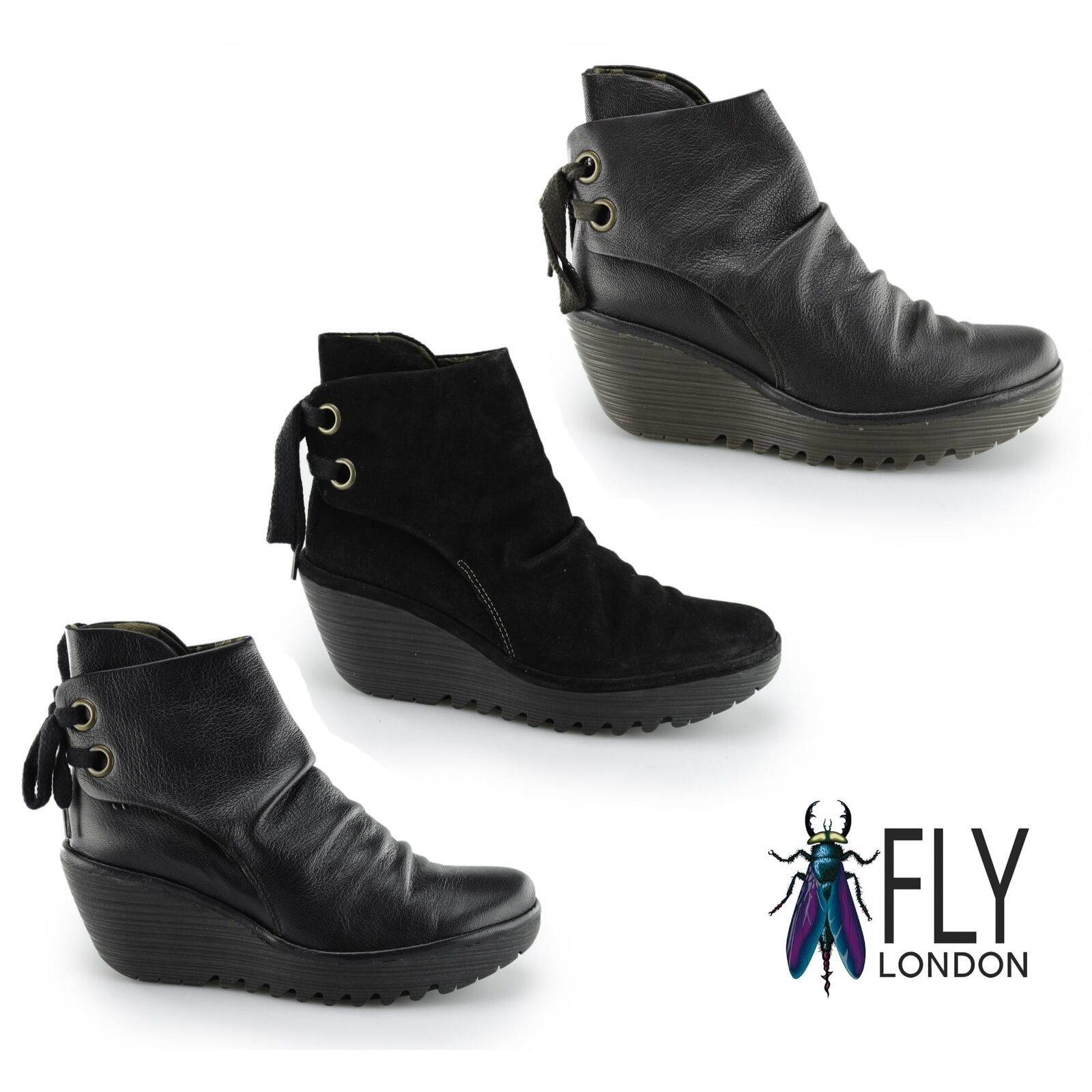 Fly London YAMA Ladies Womens Suede Leather Lace Up Pull On Wedge Ankle Boots