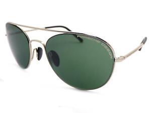 nuovo stile a6944 d50e6 Dettagli su Porsche Design Rotondo Pilota Occhiali da Sole Argento/Verde  P8606 D