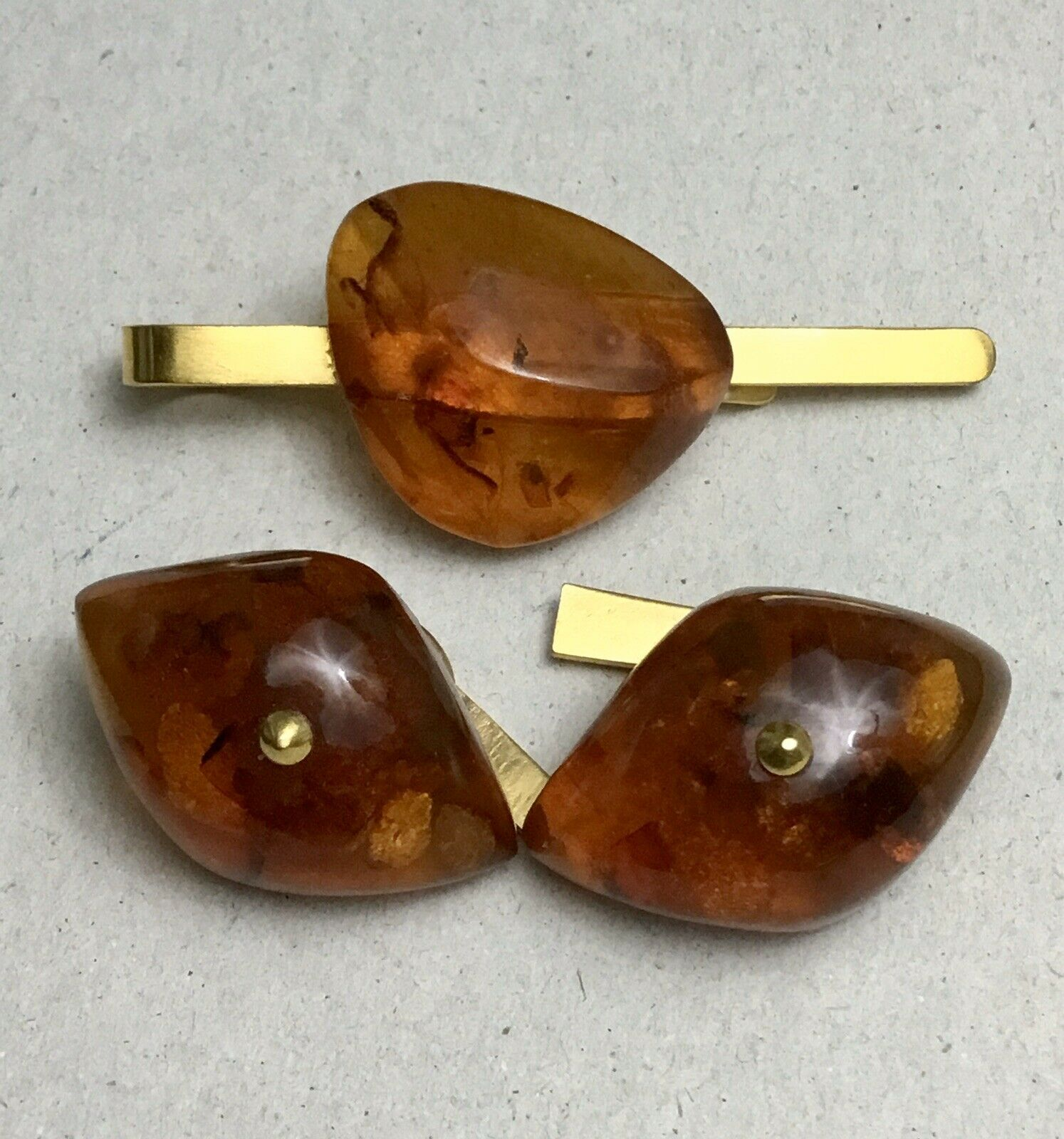 amber cufflinks and tie clip