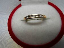 VINTAGE 14K YELLOW/WHITE GOLD AND ROUND CUT DIAMONDS RING/BAND Sz4.75 NOT SCRAP