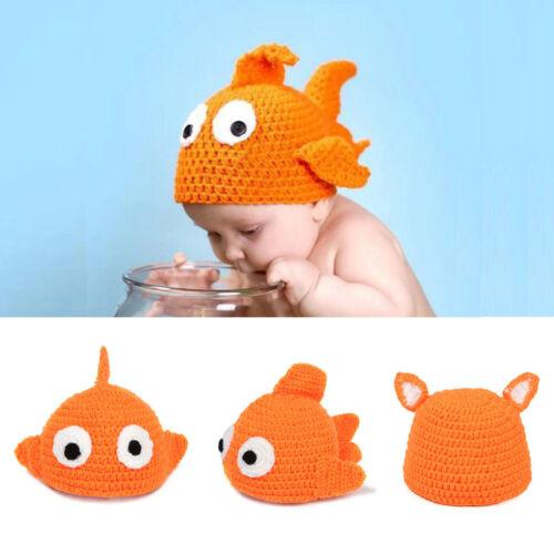 2016 Kids Baby Girls Boys Crochet Knit Cloth Cap Photo Photography Prop Fish Hat