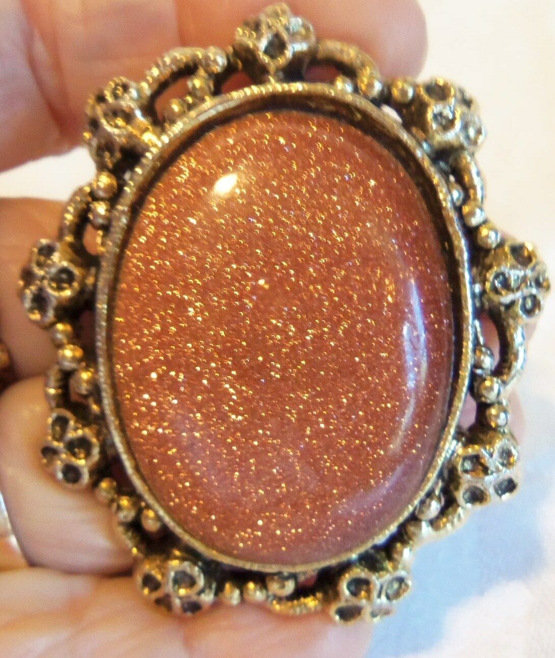 Fabulous Vintage Large Oval goldstone  Glass Cameo Brooch or Pendant estate