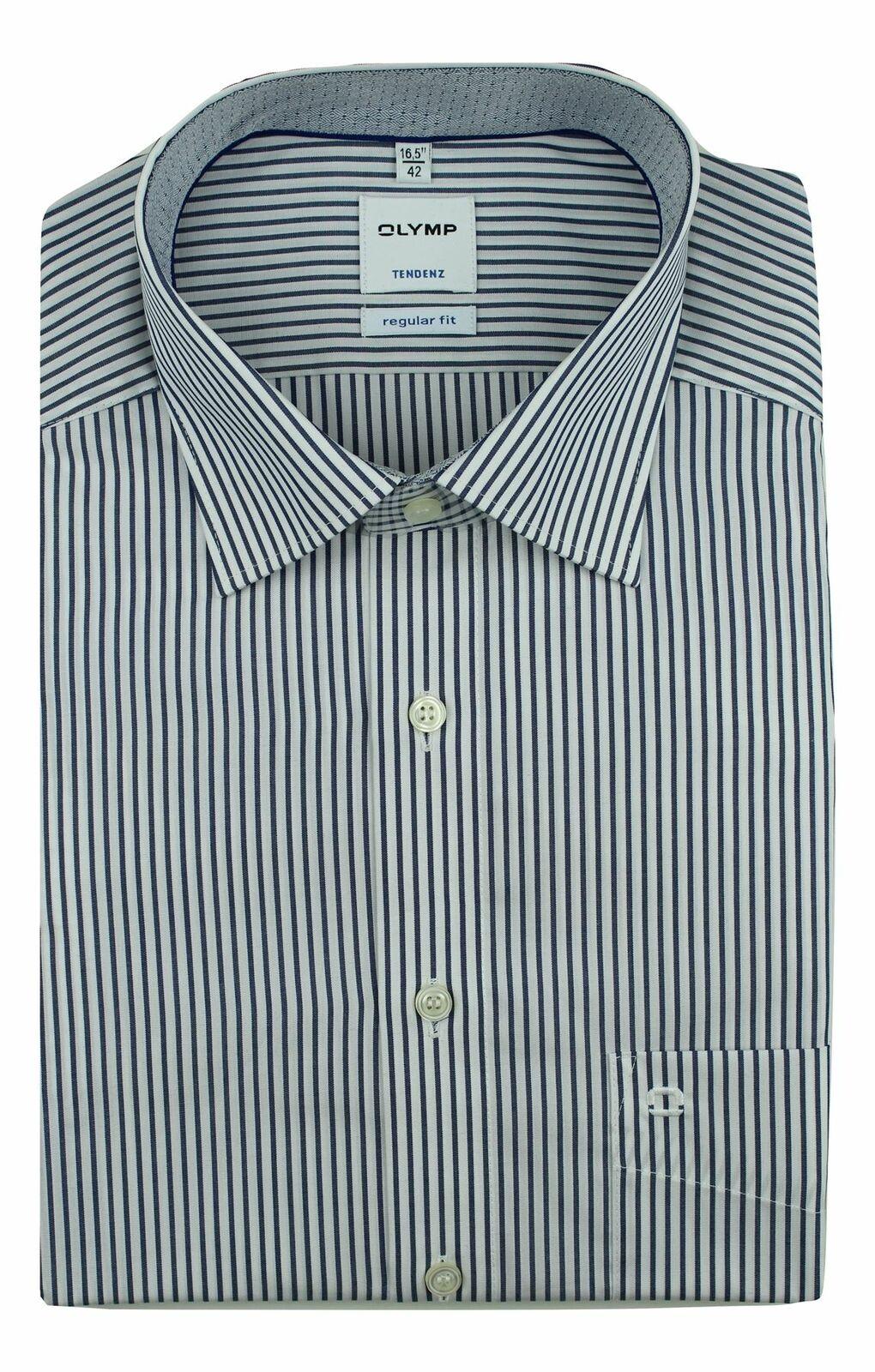 Denim Stripe Spread Collar