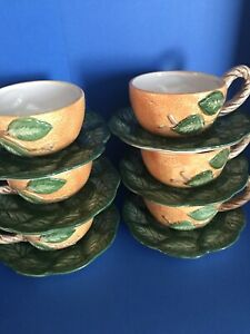 Set of 6 FITZ & FLOYD Tea Cup & Saucer Set TEACUPS VINTAGE RARE 1988