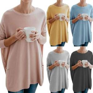 Womens-Plain-Blouse-Long-Sleeve-Crew-Neck-Baggy-Loose-Oversized-Pullover-Tops