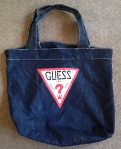 8cb9467308 GUESS Jeans Denim Tote Bag Purse USA Vintage Style Guess Spellout 18 ...