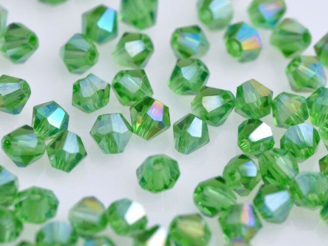 50pcs 6mm Bicone Faceted Crystal Glass Charms Loose Spacer Beads Green Green AB