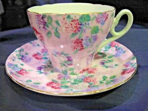 Shelley-Summer-Glory-Tcup-Saucer-Cambridge-GOLD-TRIM-13456-S7-LOWEST