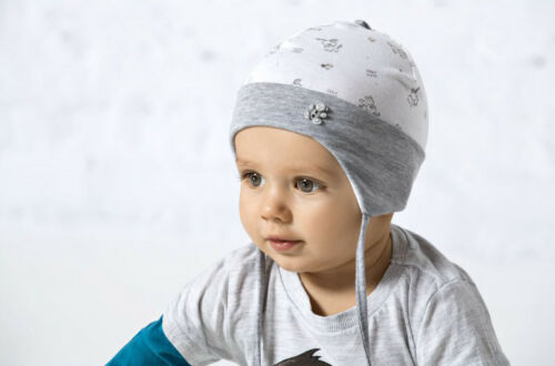 Boys hat spring autumn grey white sizes 6 months 1,5 years
