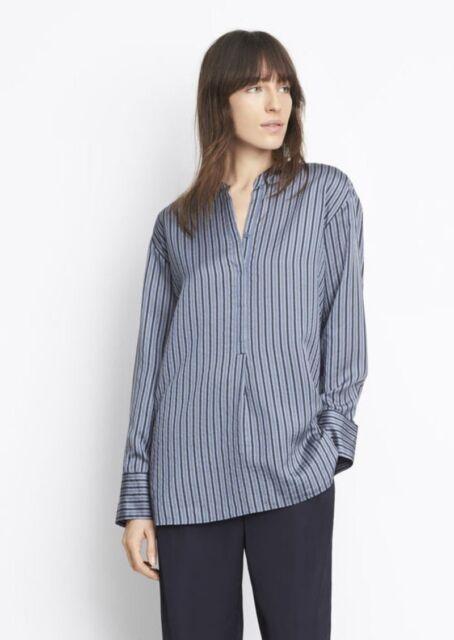 20e3827572c692 NWT Vince Striped Silk Tunic Blouse Top Postman Blue Size M  345
