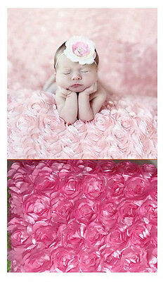Pink Newborn Baby photography photo props 3D rose blanket MG03