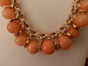 fossil gold tone peach colored semi precious stone necklace ebay
