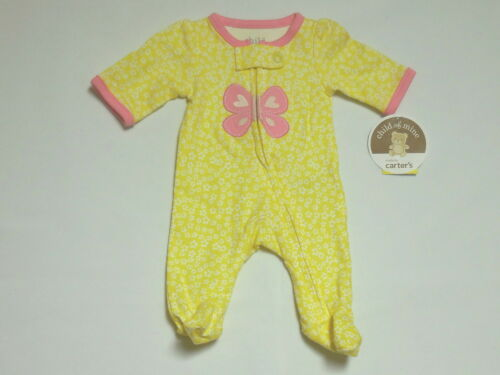 Preemie NWT Child of Mine Yellow Floral Butterfly Footed Sleeper//Romper