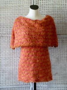 91e300efbc8f OILILY~ITALY~Designer Orange Pink Off-Shoulder Cape Layer Crocheted ...