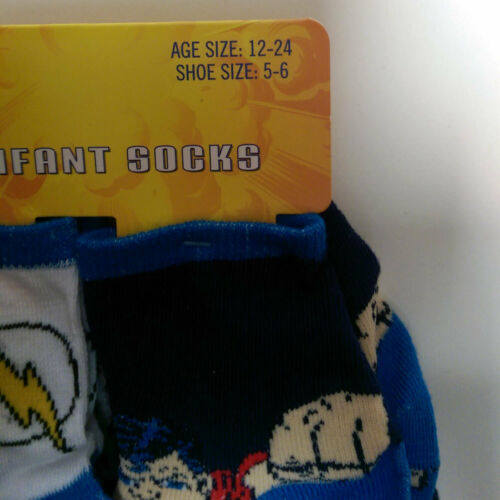 DC JUSTICE LEAGUE Boys 6 Pack Socks Baby Infant Toddler 12-24 Mo Shoe Size 5-6