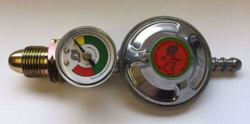 Propane Gas Regulator 37mbr + Dial Level Gauge Caravan Boat Motorhome