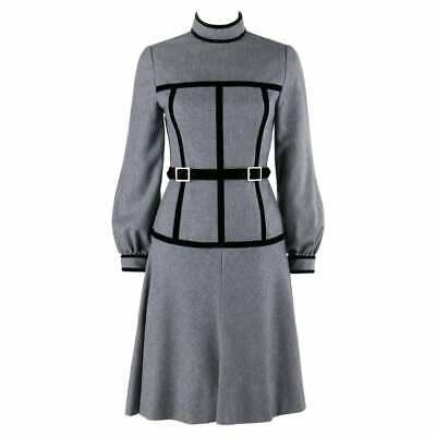 oscar de la renta c1970s gray velvet corset trim black