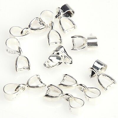 15Pcs Silver Plated 18KGP Pinch Clip Connectors Bails Jewelry Findings 12mm