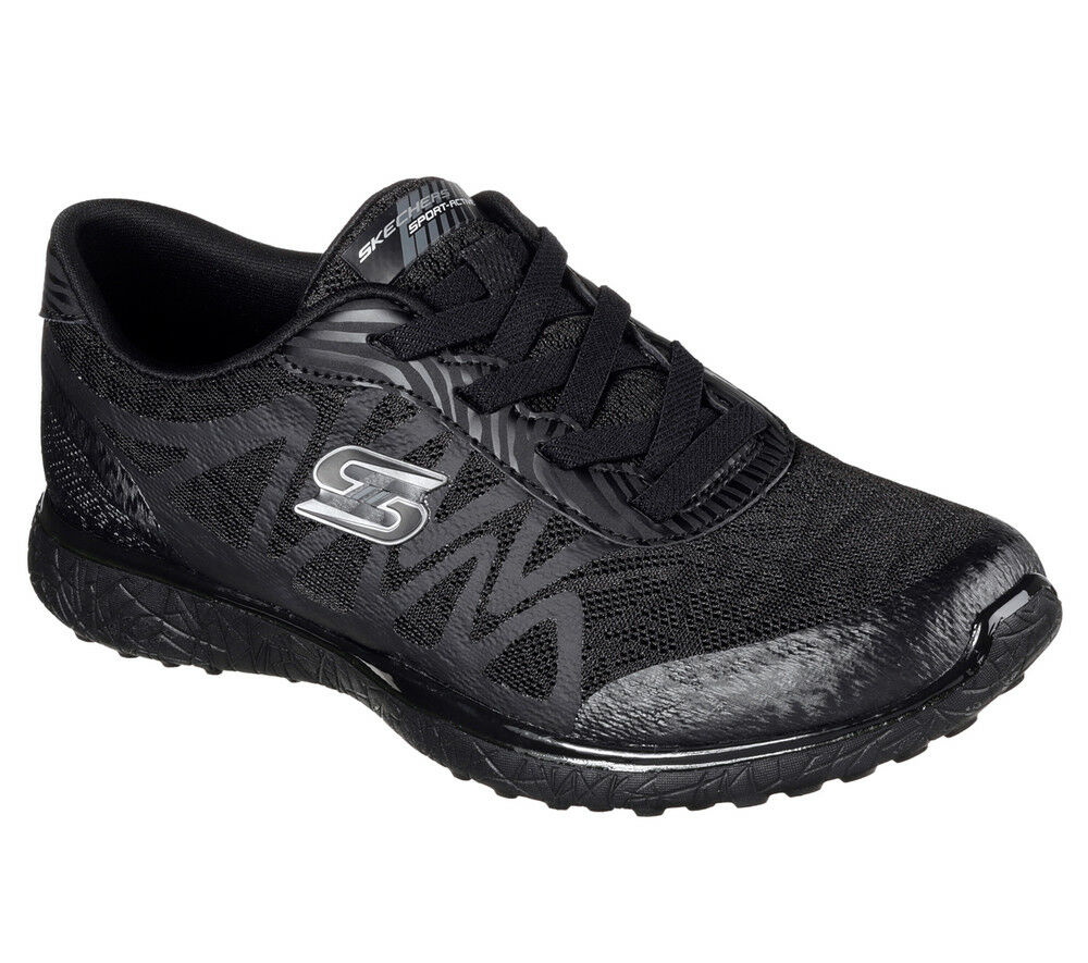 NEW SKECHERS Women Sneakers Memory Foam Trainers MICROBURST - SHOWDOWN black
