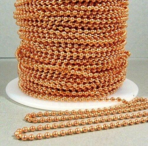 Solid COPPER BALL CHAIN 10 Connectors 10 Feet 2.4mm #3 Made in USA Shiny Bead