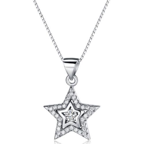 925N08 TT RHODIUM 925 Sterling Silver Star Pendant Necklace NEW