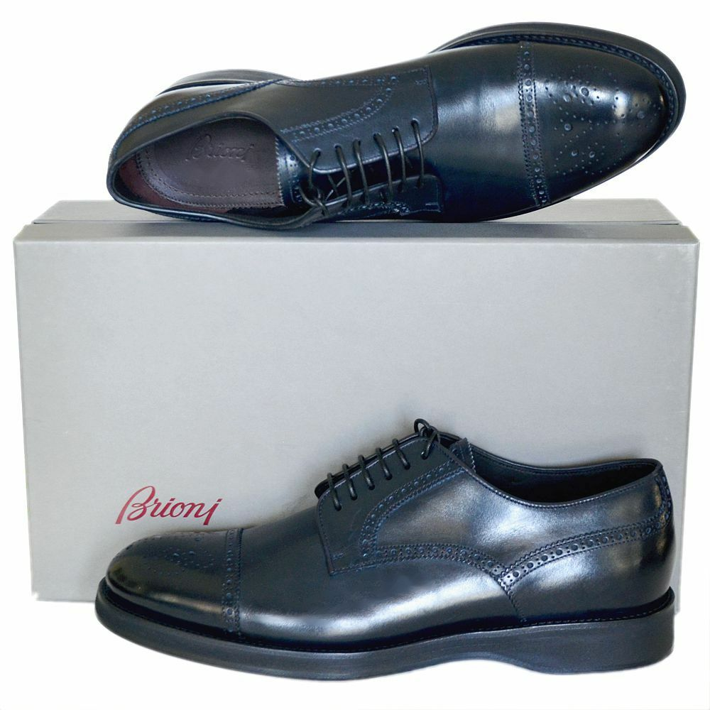 Brioni Neuf Tailles UK 9.5 - US 10.5 Authentique Designer Homme Derbies Chaussures Bleu Marine