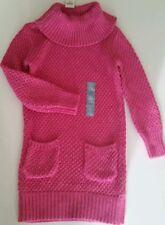 New Baby Gap Girl's Pink Metallic Glitter Cowl Neck Sweater Dress Tunic Sz 2