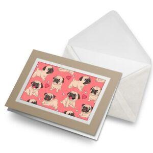 Greetings-Card-Biege-Cute-Pink-Pug-Puppy-Dog-Animals-Pets-8372